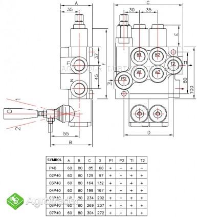 Rozdzielacz hydrauliczny 1 sekcyjny 40L - zdjęcie 1