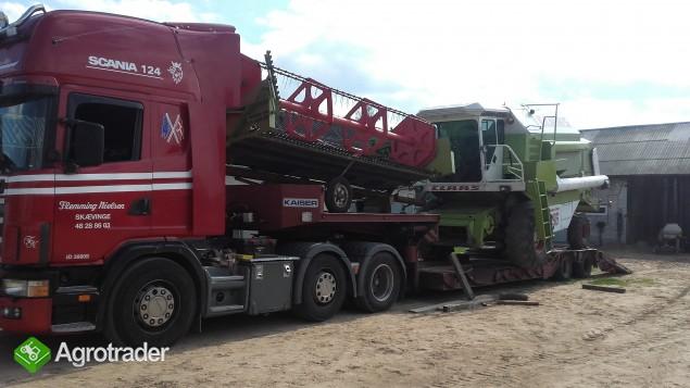Transport kombajnów sieczkarni maszyn Claas Fent MF Holland Bizon